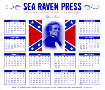 Jefferson Davis Yearly Wall Calendar from Sea Raven Press